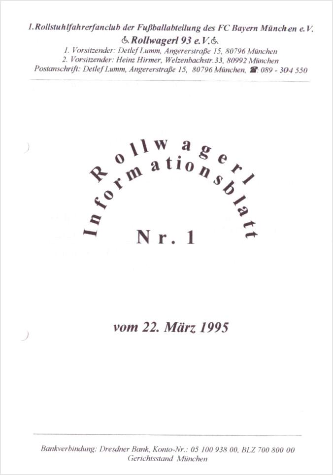 Titelseite des ersten Newsletters des Rollwagerl 93 eV. vom zweiundzwanzigsten März neunzehnhundertfünfundneunzig