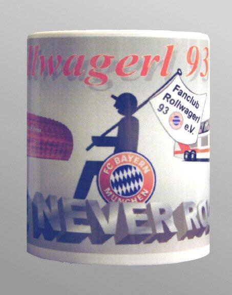 Tasse mit Rollwagerl-Logo (alt) und den Texten Rollwagerl 93 eV und You never roll allone