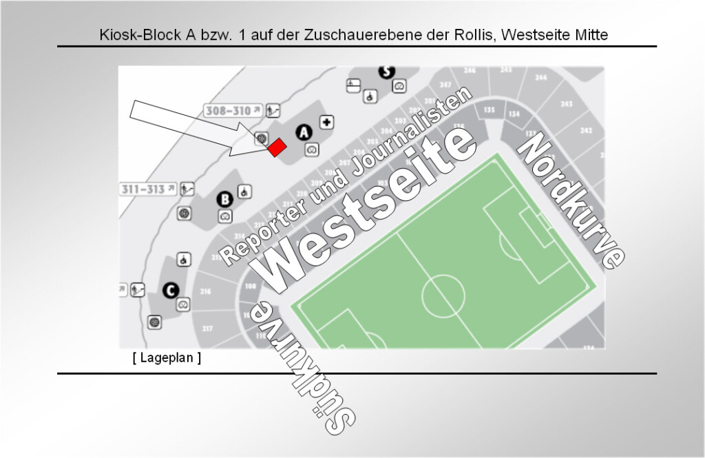 Lage des Rollwagerls Shops: Kiosk-Block A bzw.1 auf der Zuschauerebene der Rollis, Westseite Mitte.